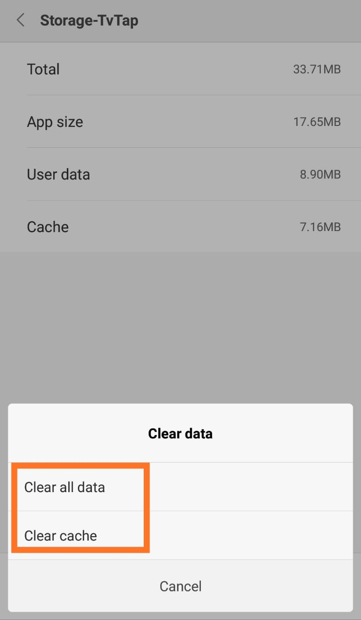 CLEAR DATA AND CACHE TVTAP PRO