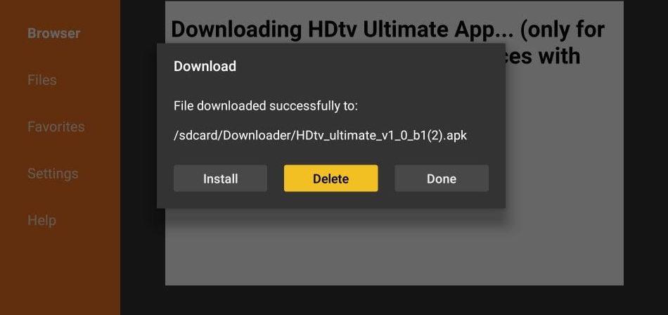 delete HDTV live app