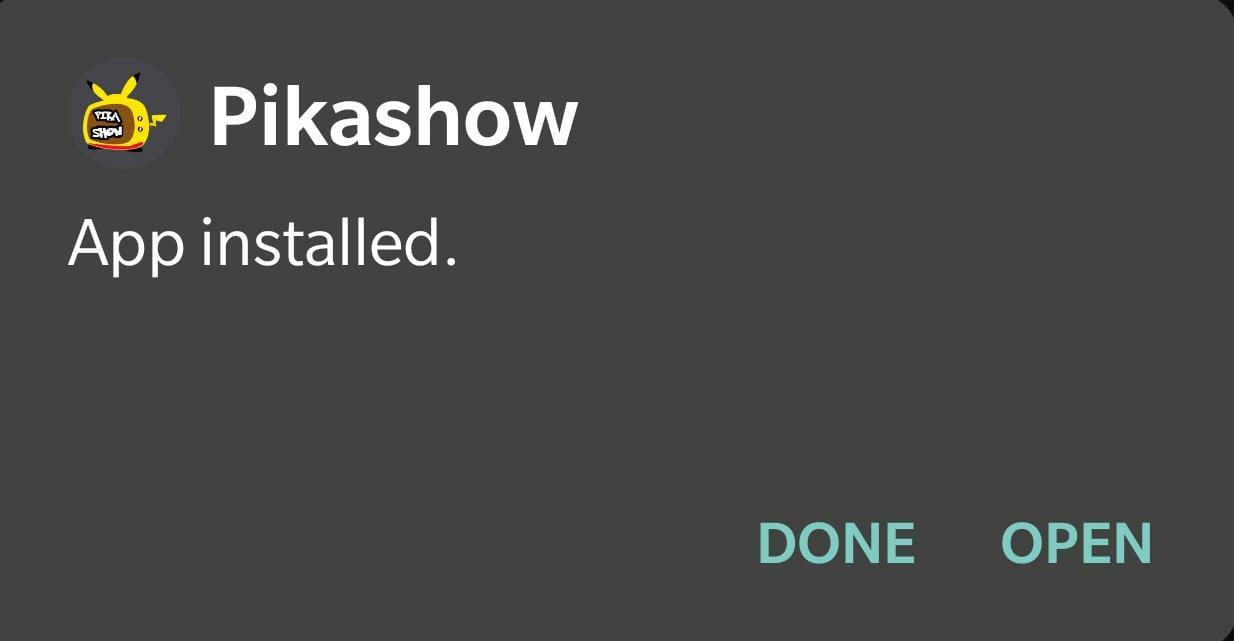 Pikashow APK Installed