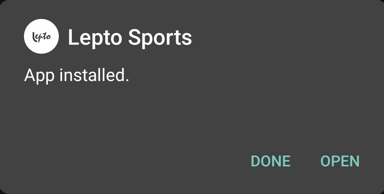 lepto sports APK installed